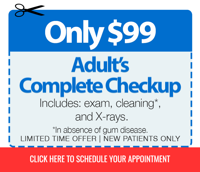 Adult's Complete Checkup for $99 Includes exam, cleaning (in absence of gum disease), and X-rays (Limited Time, New Patients Only)